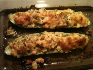 My version of the stuffed zucchini recipe.